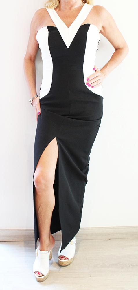 Novedad Vestido blanco y negro