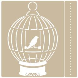 Stencil Animal 003 pájaro en jaula