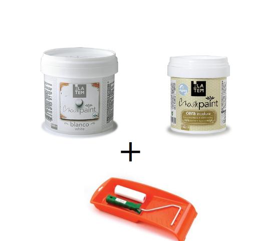 Kit pintura a la tiza+cera+bandeja+mini rodillo