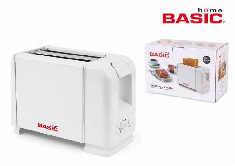 Basic Home BY02013466514 Tostadora, 700 W, 2 Ranuras, Blanco [Clase de eficiencia energética A]