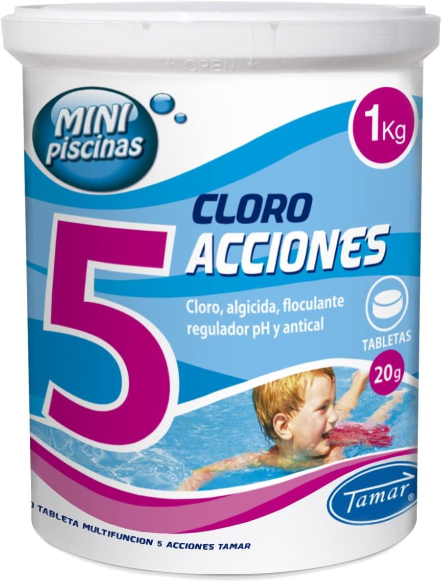 Cloro 5 Acciones, Tabletas Multifuncion de 20 grs, Especial para Mini Piscinas, Bote de 1 Kilo.