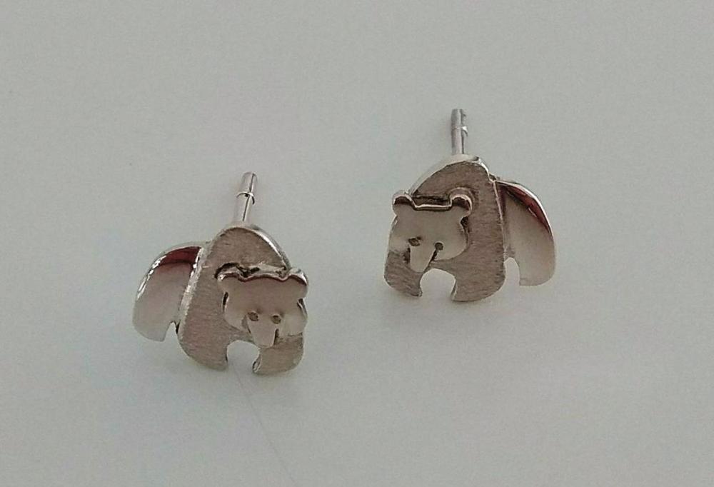 Caridad León Pendientes plata osos