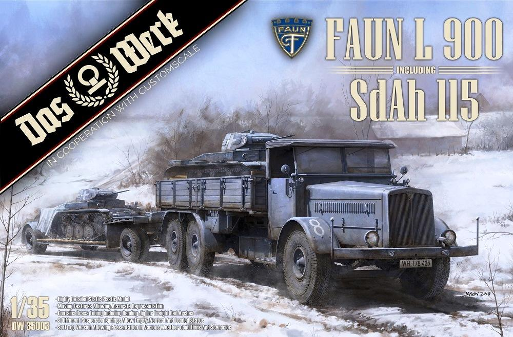 DAS WERK MODELS DW35003 German Faun L 900 with Sd.Ah.115 10ton Low Bed Trailer