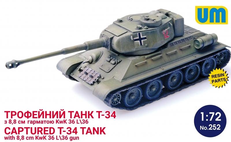 UNIMODEL 252 Soviet T-34 Captured Tank with 8,8 cm KwK 36L/36 Gun