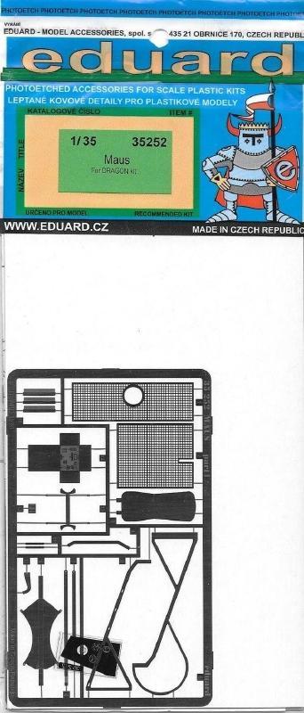 EDUARD 35252 Set for German Super Heavy Tank 'Maus' (Dragon)