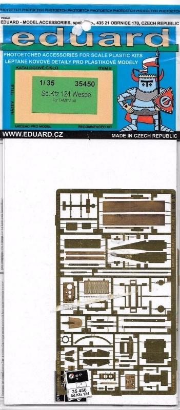 EDUARD 35450 Set for Sd.Kfz.124 'Wespe' (Tamiya)