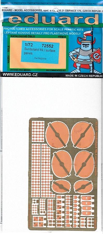 EDUARD 72552 Set for Sunderland Mk.I Surface Panels (Italeri)