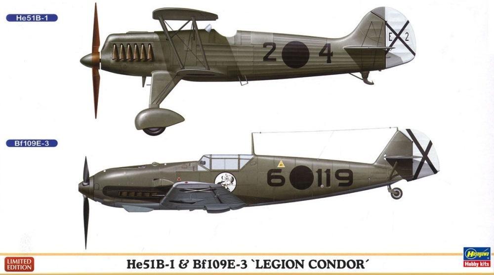 HASEGAWA 02197 Heinkel He 51B-1 & Messerschmitt Bf 109E-3 (Legion Condor)