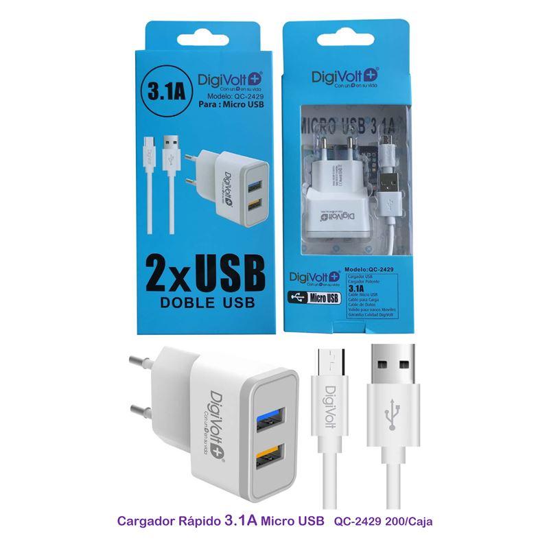 DIGIVOLT CARGADOR 3.1A QC-2429 2 USB CABLE MICROUSB