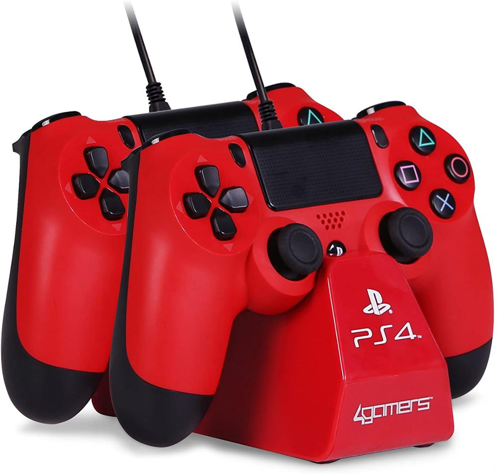 4GAMERS DESKTOP STAND CHARGER MANDO PS4 - ROJO