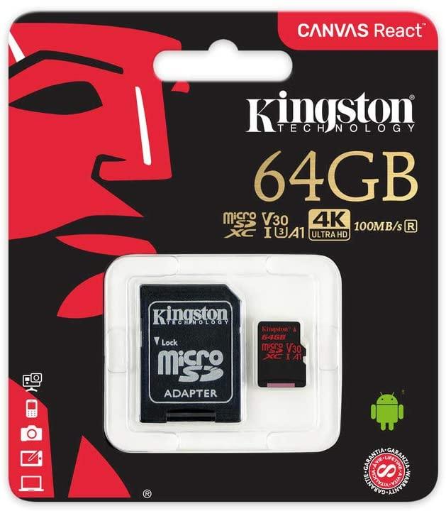 KINGSTON MEMORIA MICROSD 64GB CANVAS REACT