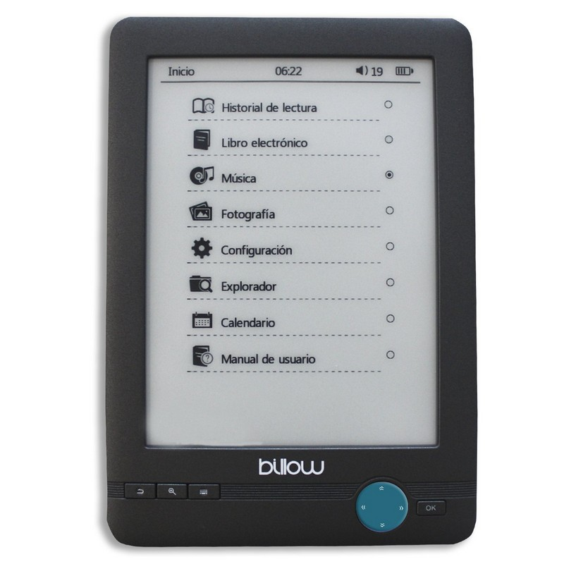 BILLOW E-BOOK READER ELECT. INK TACTIL 4GB GRIS