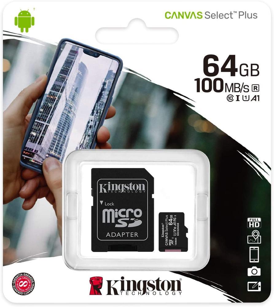 KINGSTON MEMORIA MICROSD 64GB CANVAS SELECT PLUS