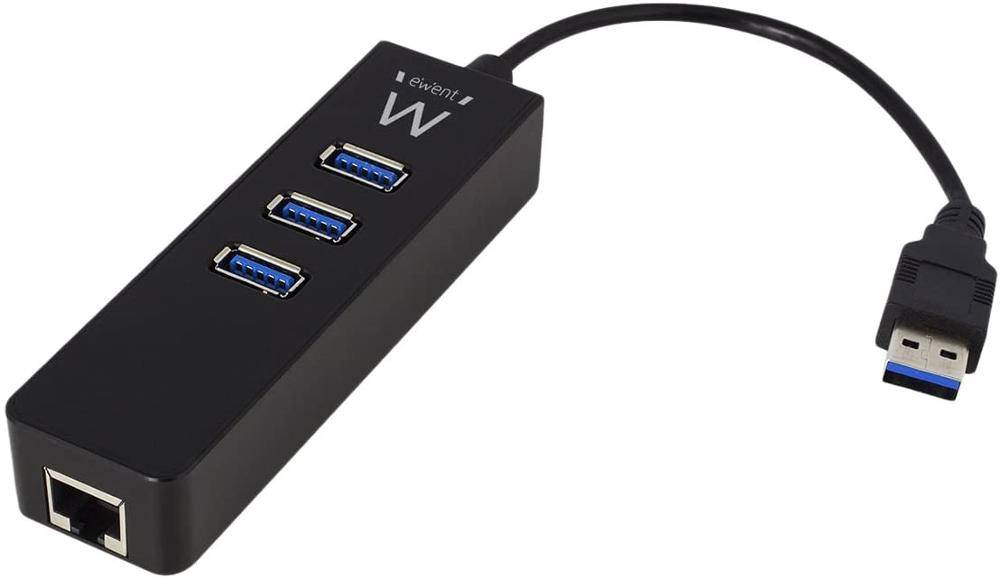 EWENT HUB 3 PUERTOS USB 3.1 + 1 PUERTO GIGABIT LAN EW1140