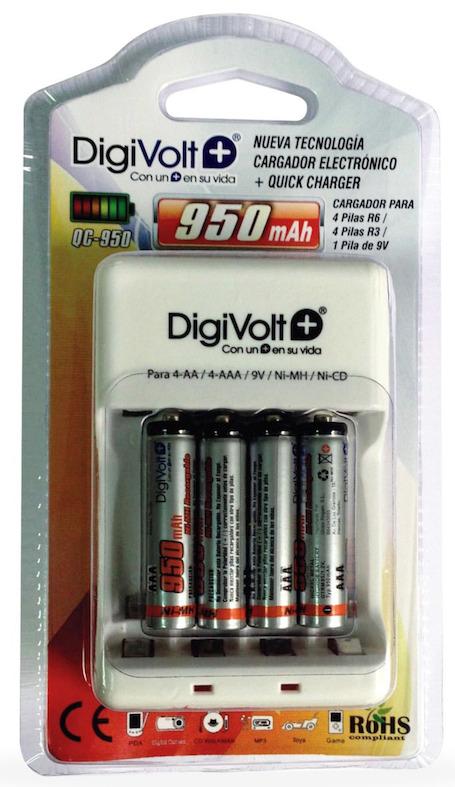 DIGIVOLT QC-950 CARGADOR CON 4 PILAS AAA 950