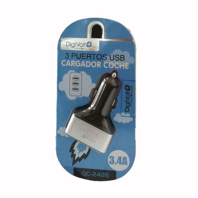 DIGIVOLT CARGADOR QC-2426 PARA COCHE. CARGA RAPIDA 3.4A