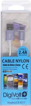 DIGIVOLT CABLE NYLON CB-8217 MICRO-USB 2.4A - PLATA
