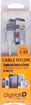 DIGIVOLT CABLE NYLON CB-8218 LIGHTNING IPHONE 2.4A - PLATA