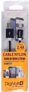 DIGIVOLT CABLE NYLON CB-8218 LIGHTNING IPHONE 2.4A - NEGRO