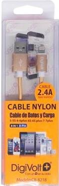 DIGIVOLT CABLE NYLON CB-8218 LIGHTNING IPHONE 2.4A - DORADO