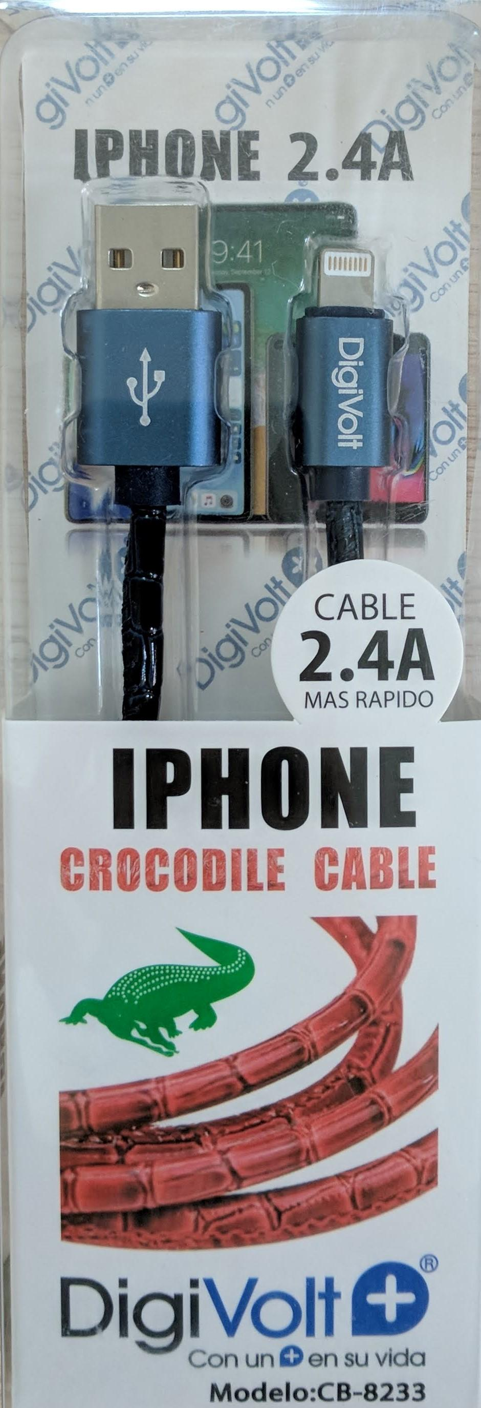 DIGIVOLT CABLE CROCODILE IPHONE CB-8233 AZUL