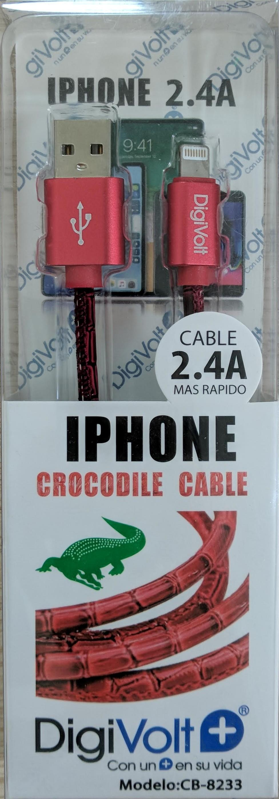 DIGIVOLT CABLE CROCODILE IPHONE CB-8233 ROJO