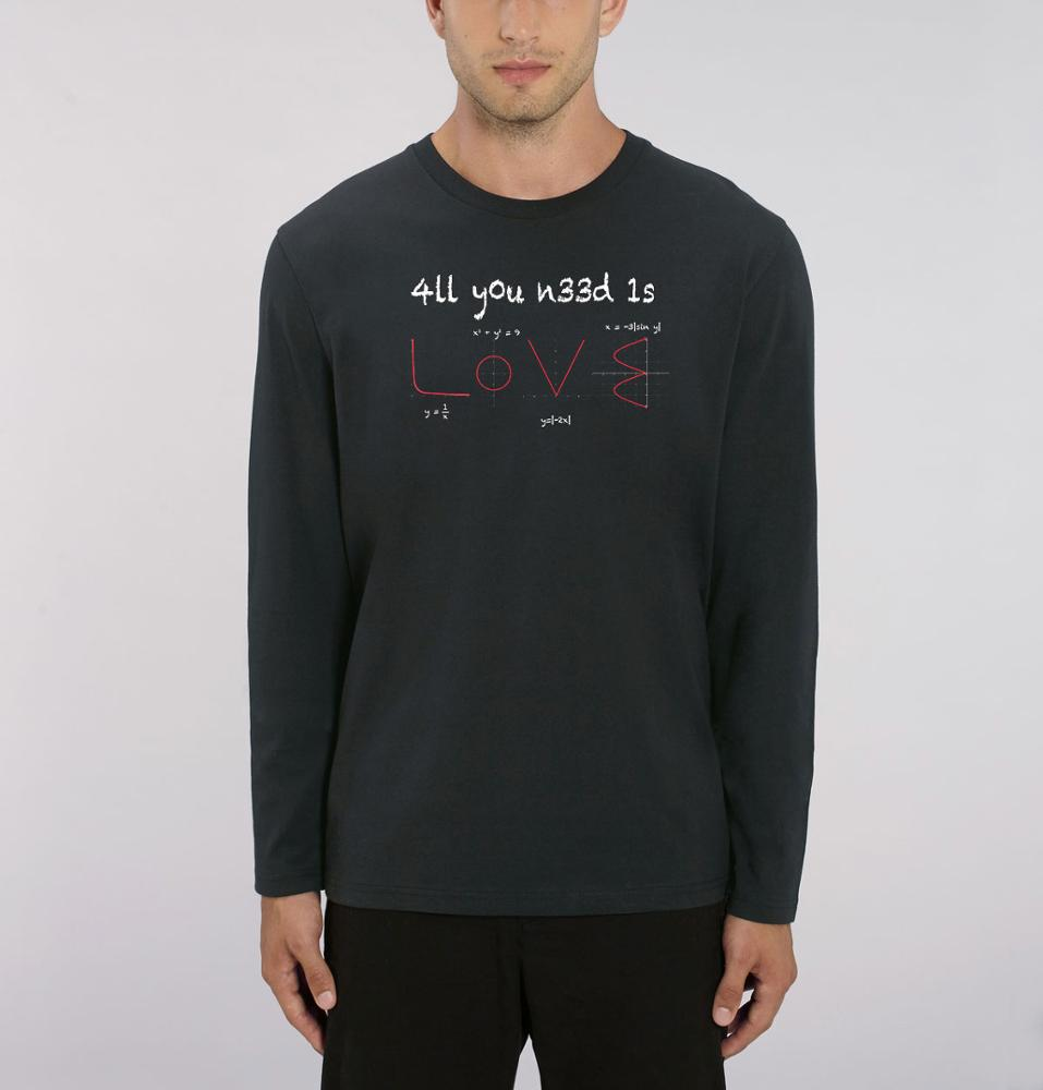 Camiseta manga larga chico negra All you need is love