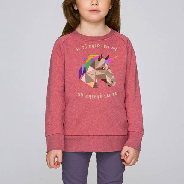 Unicornio (Infantil Sudadera rosa)