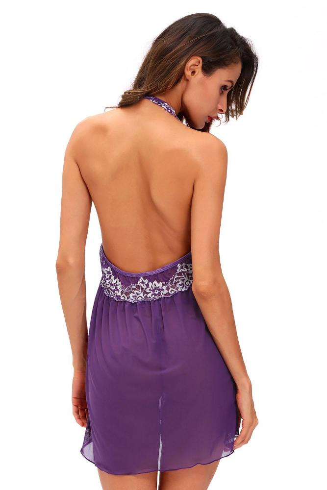Picardía violeta con encaje floral