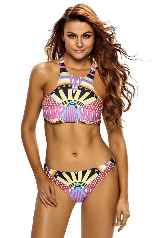 Bikini Cuello Halter Estampado