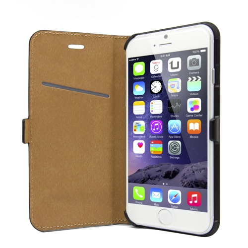 UNOTEC Funda Flipmium Horizontal Negra iPhone 6