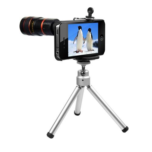 UNOTEC Objetivo para iPhone4 8X con trípode incluido