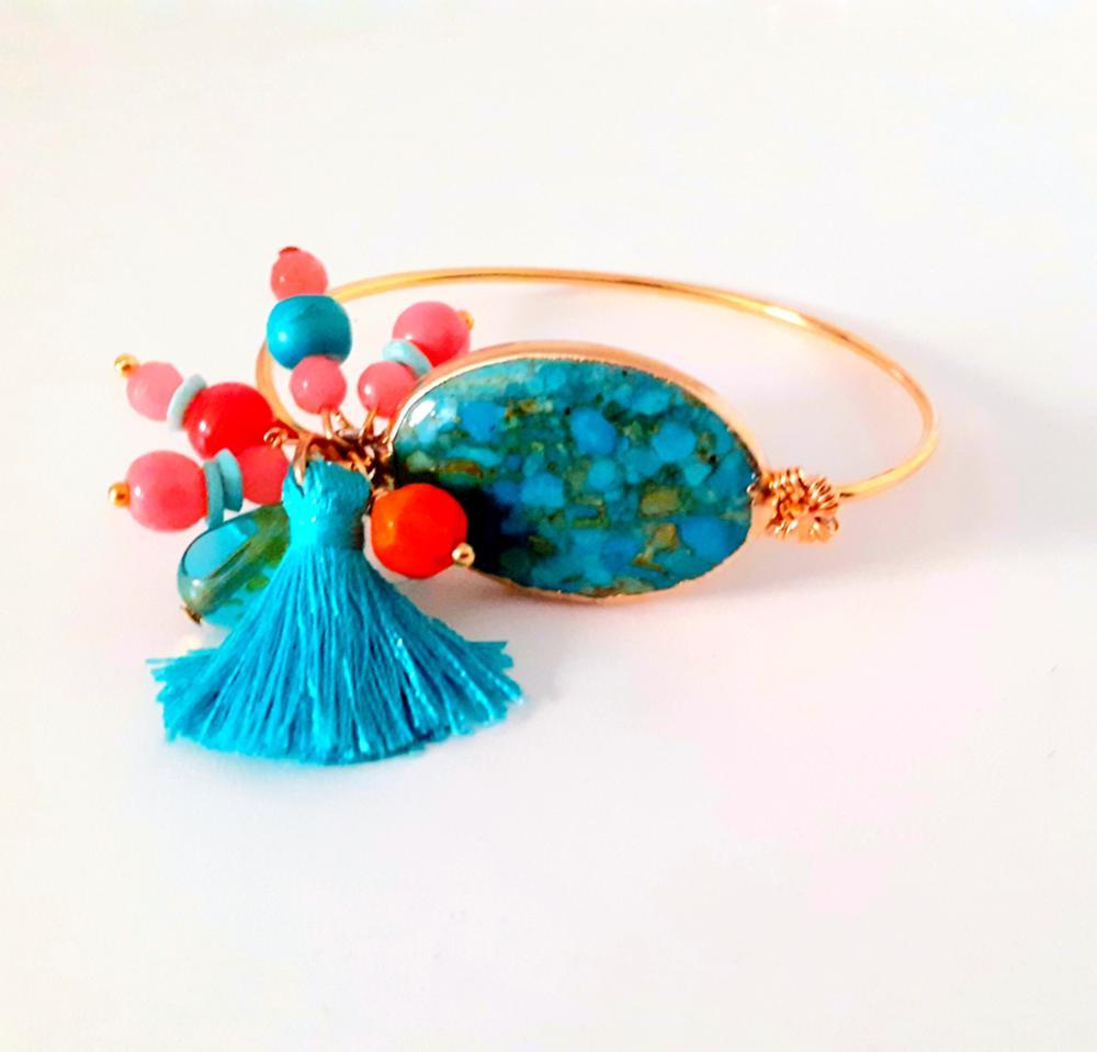 Brazalete Turquesa y coral