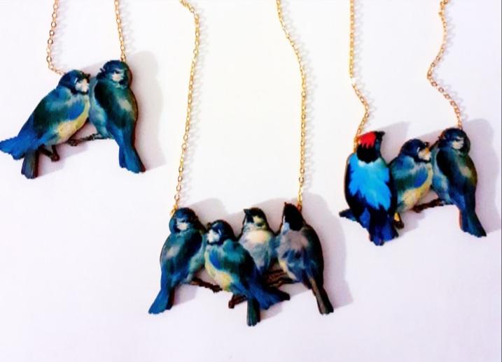 , Collares Pájaros Azules