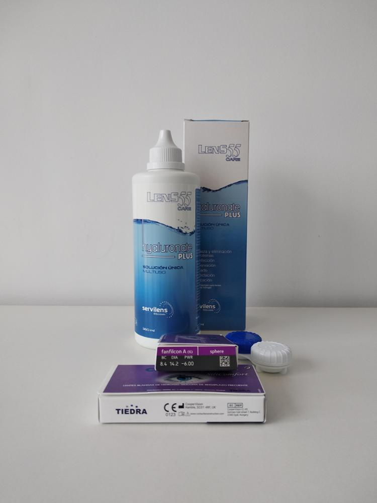 Tiedra Pack 2 cajas de 3 lentes hidrogel de silicona + 1 bote de solucion unica 360ml Pack 3 meses