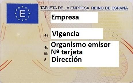 Tarjeta Empresa Castilla la Mancha