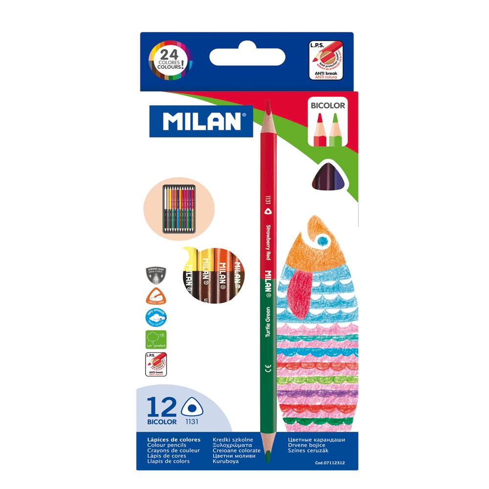 MILAN - Artículos de Papelería Caja 12 Lápices Bicolor