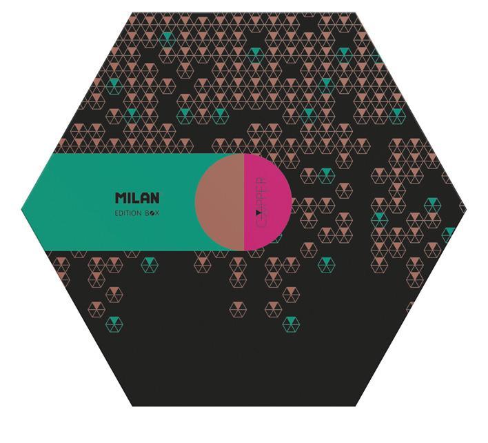 MILAN - Artículos de Papelería Caja Hexagonal Copper Verde