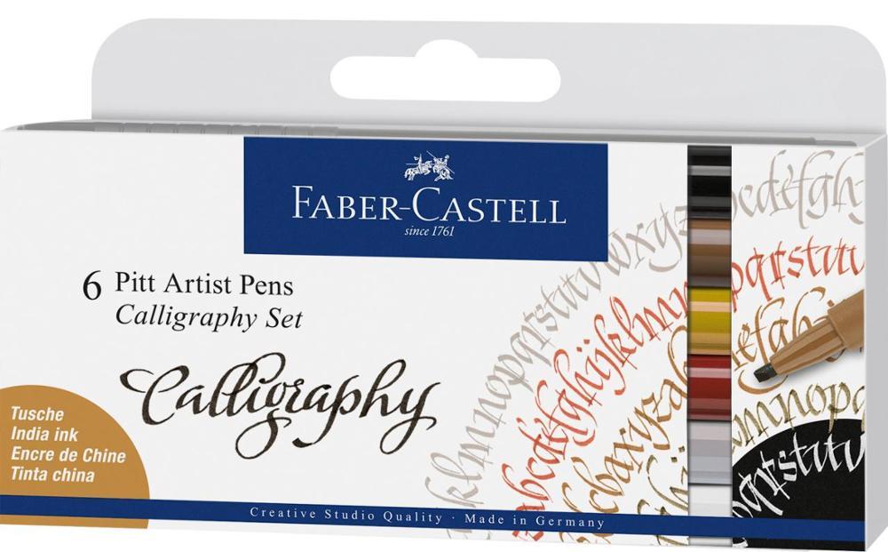 Faber-Castell 6 Pitt Artist Pens Set Calligraphy