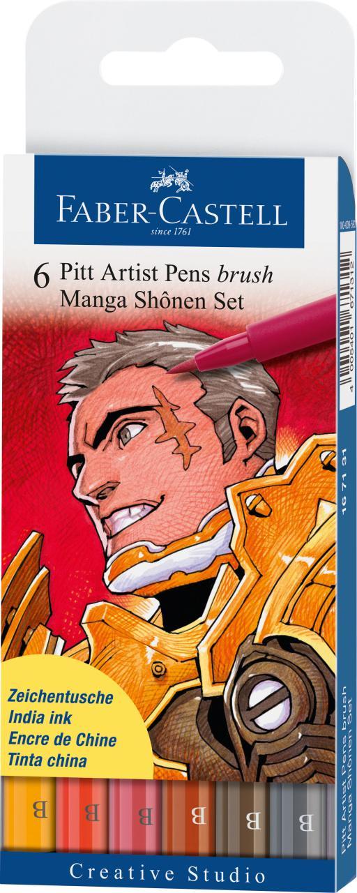 Faber-Castell 6 Pitt Artist Pens Brush Manga Shônen Set