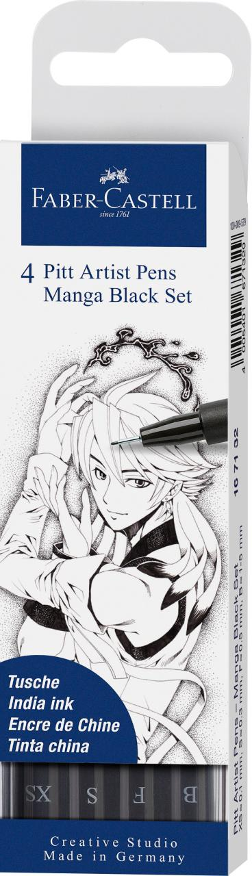 Faber-Castell 4 Pitt Artist Pens Manga Black Set