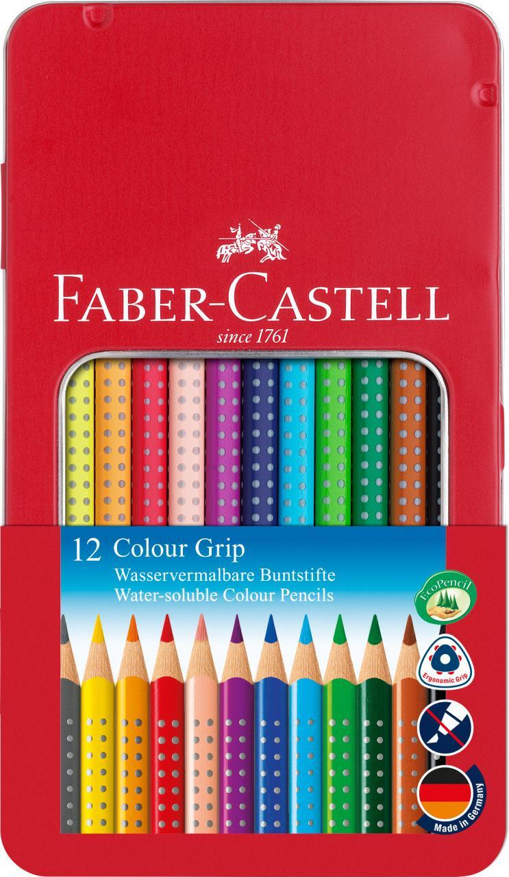 Faber-Castell Caja Metálica 12 Colour Grip