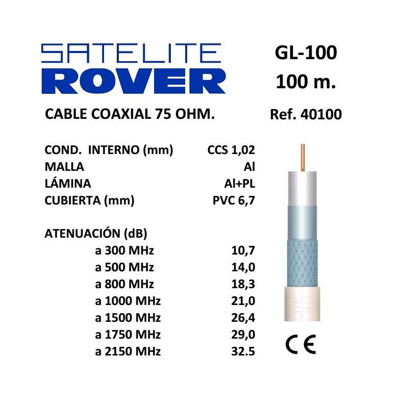 Satélite Rover Cable Coaxial TV GL100  PVC Blanco 100m 40102