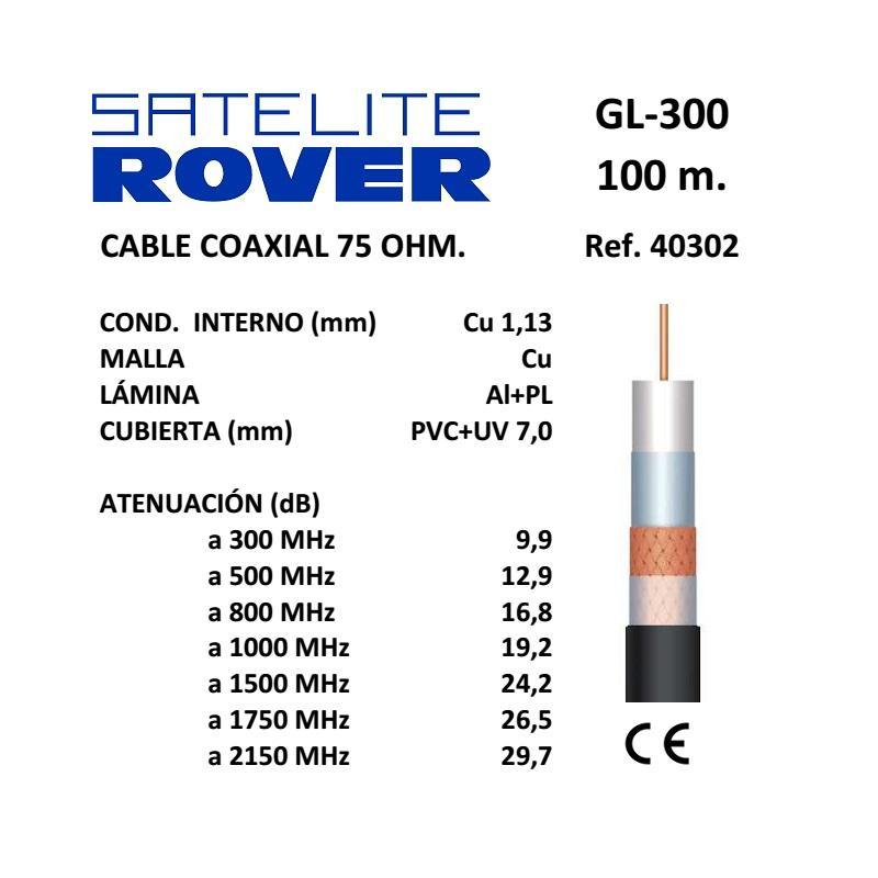 Satélite Rover Cable Coaxial TV GL400  PVC Negro 100m 40405
